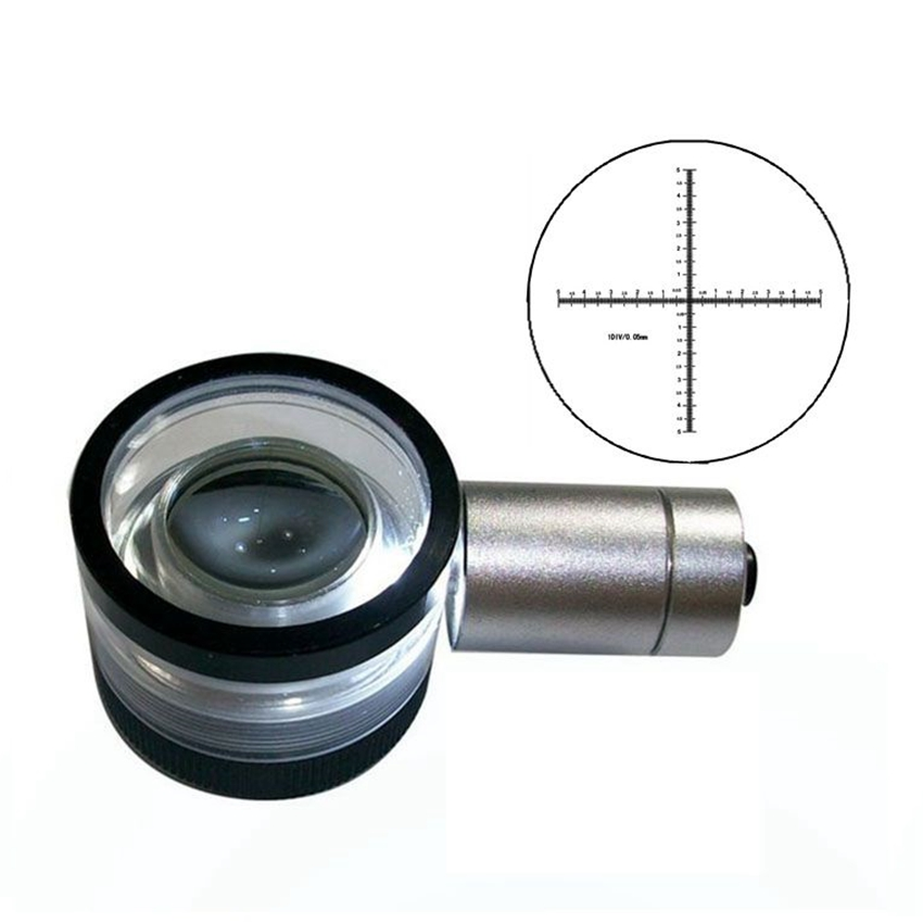 30X 0.05mm/10mm Division Antireflection Film Lens Magnifier Flat-Field Achromatic Magnifying Glass Loupe with Micrometer