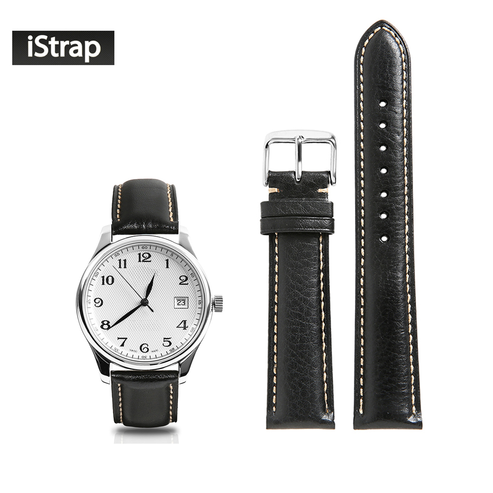 iStrap Watch Strap Genuine Leather 18mm 19mm 20mm 21mm 22mm Black Replacement Watchband Polished Silver Pin Bukcle For Tissot istrap 22mm handmade genuine calf leather padded replacement watch band for men black 22