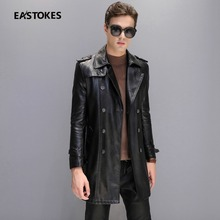 Men Leather Jackets Classical Faux Leather Windbreaker Double Breasted Men Overcoat Faux Leather Windbreaker Trench Coat