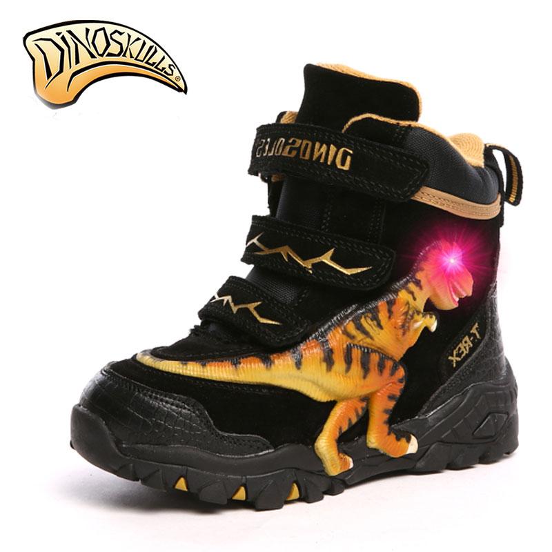 Dinoskulls enfants baskets marque lumières pour les garçons led chaussures lumineuses 2017 Respirant sport chaussures tenis infantil 3D dinosaure chaussures