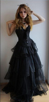Robe De Soiree Black Victorian Gothic Corset Prom Dresses 2019 High Quality Long Sweetheart Tulle Ruched Gothic Girls