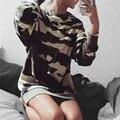 Camisolas Novo 2016 Outono das Mulheres Solto Moda Vestido de Manga Longa Hoodies Camuflagem Do Exército de Algodão Outerwear Blusas Femininas