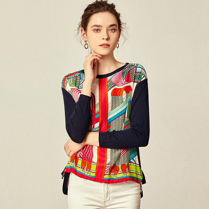 Blouse Women 100 Printed Silk Patchwork Fabric Simple O Neck Knitted Long Sleeves Pleated Hem Casual