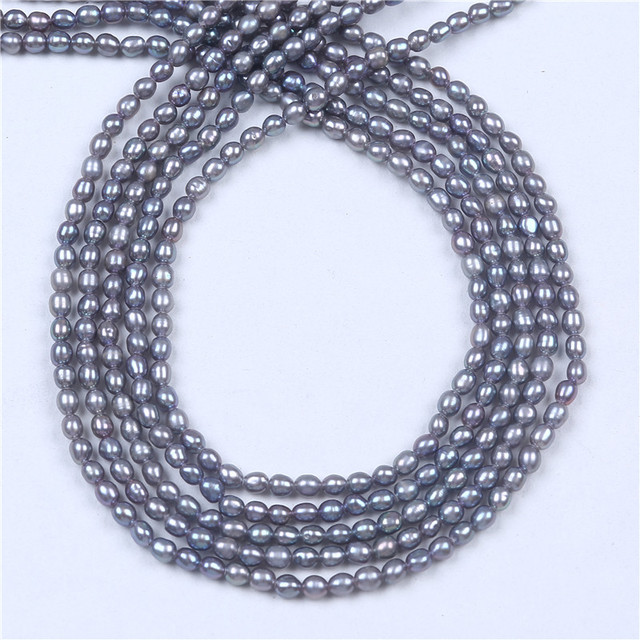 DIY AA Wholesale Grey Freshwater Rice Oval Pearl 2.5-3mm Loose Beads 16'' For Jewelry Making