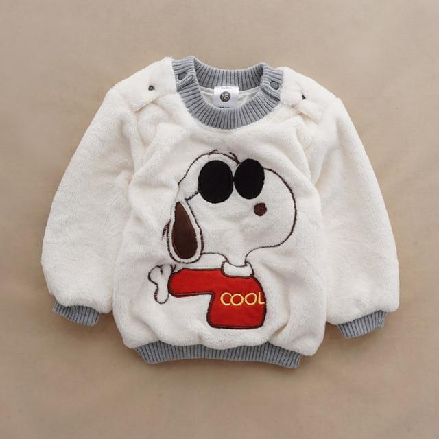 Девочек мальчиков теплые мультфильм свитера осень / зима износа детей пуловеры верхняя одежда ватки свитер