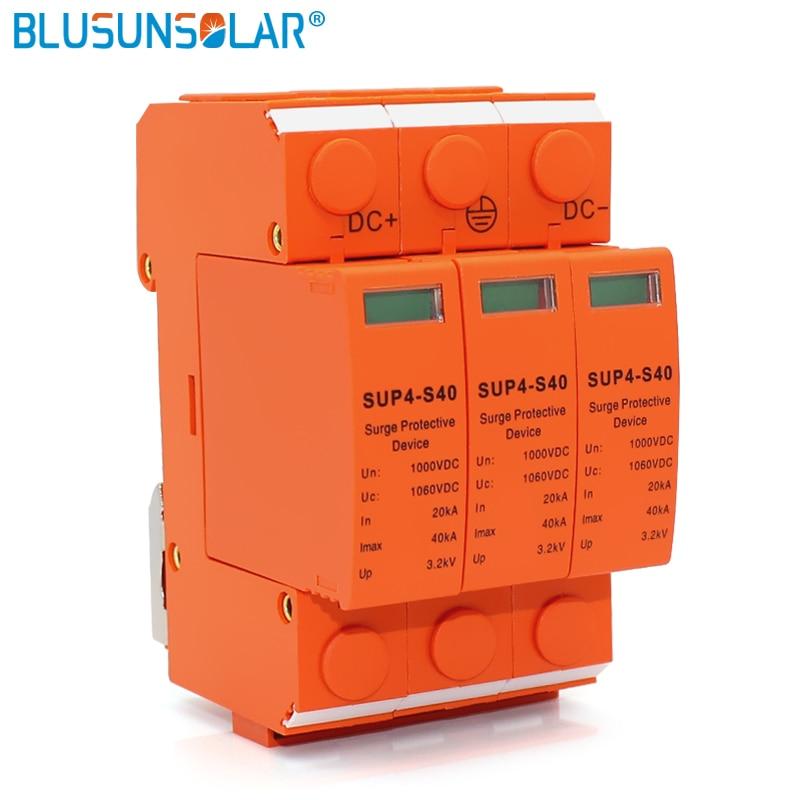 10 pcs/lot High Performance 3P DC 1000V SUP4-S40 SPD 20/40KA DC Surge Arrestor Protective Device for Solar System Protection 800v dc 20 40ka 3p under voltage protection device