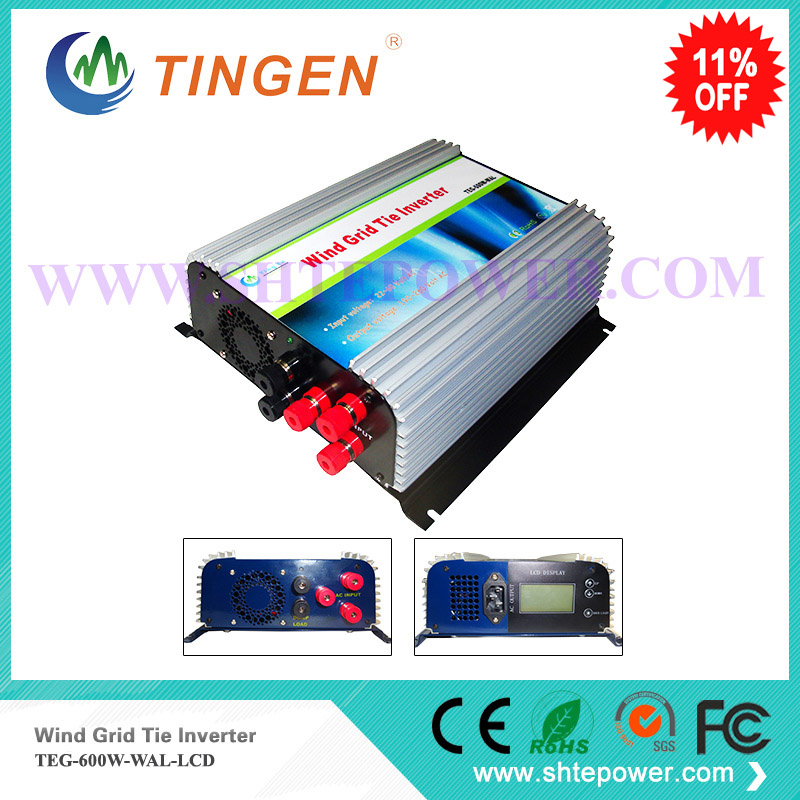 Tie grid on inverter 600w 3 phase ac input 10.8-30v(12v 24v) with  dump load resistor AC output 90-130v or 190-260v micro inverter 600w on grid tie windmill turbine 3 phase ac input 10 8 30v to ac output pure sine wave