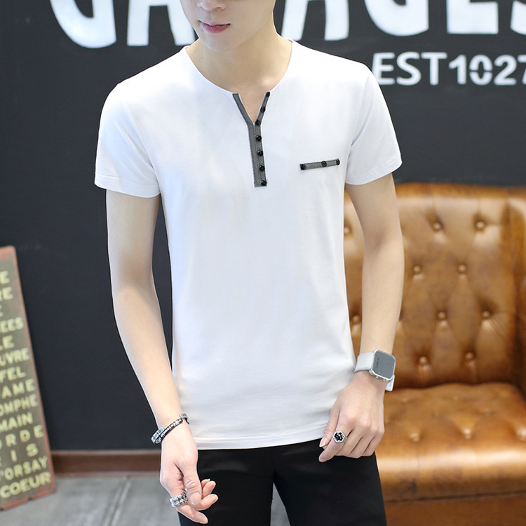 GenericMen V Neck Tops Relaxed Fit Solid Cozy Linen Cotton Summer T Shirts