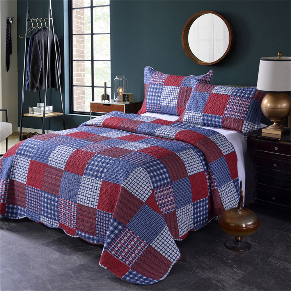 Summer Quilts King Queen Size Plaid Patchwork Coverlet Set