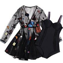 2019 Nuevo Negro una sola pieza traje de baño con funda de verano Sexy traje de baño de Biquinis de baño a mujer nadar trajes de ropa