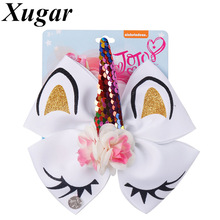 6 Glitter Unicorn Hair Bows With Horn jojo for Girls Sequin Flower Clip School Kids Party Hairgrips Accessories