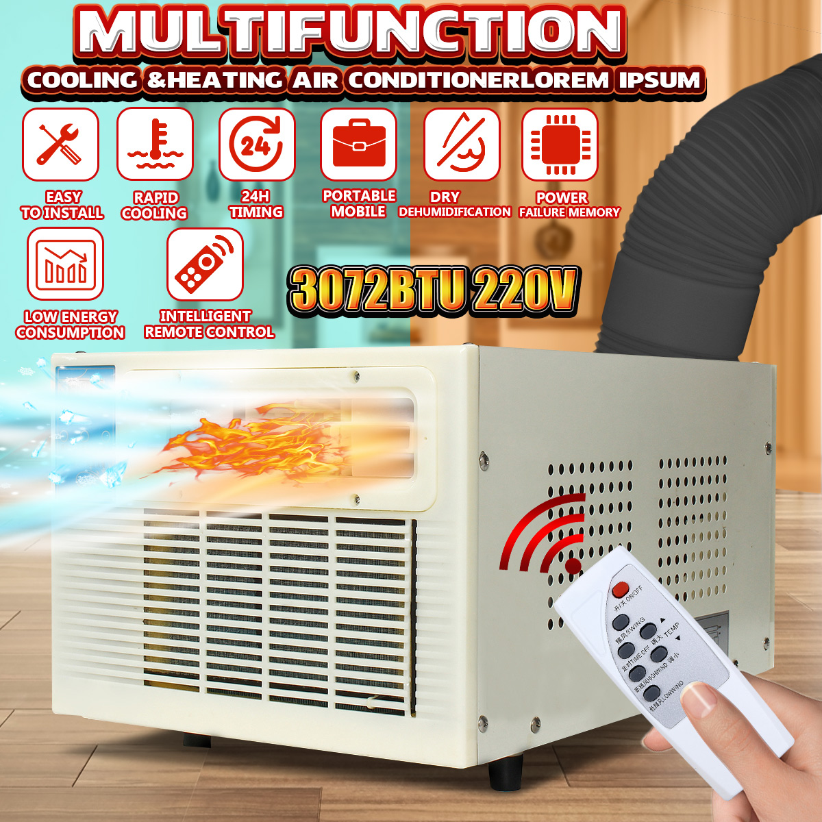 Newest 900W 3072 BTU Portable Heater Air Conditioner Window Air Conditioner Cooling Heating Cold/Heat  Dehumidification 220V