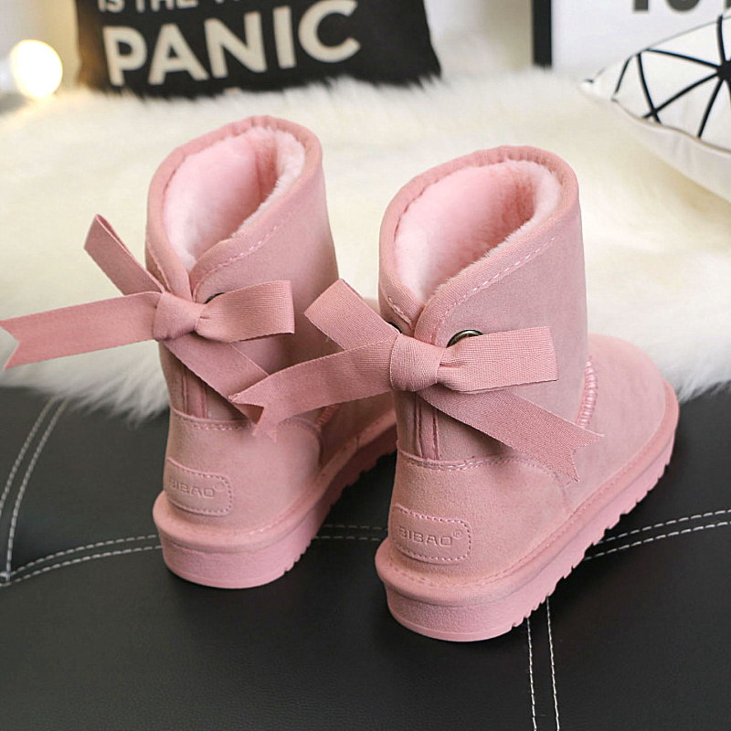 ФОТО 2017 winter women's sweet Bowtie snow boots quality genuine leather suede medium-leg cotton boots pink shoes Free shipping
