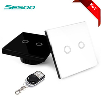 Sesoo Wifi Smart Switch 2 Gang Wireless Remote Control Light Switches Crystal Glass Panel Touch Wall