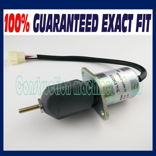 Fuel shut off solenoid 119807-77800 SA3840T 1753ES-12A3UC5B1S1 For Yanmar 4TNE94, 4TNE98, 4TNC88 Engine fuel shut off solenoid valve coil 3964624 fits excavator engine