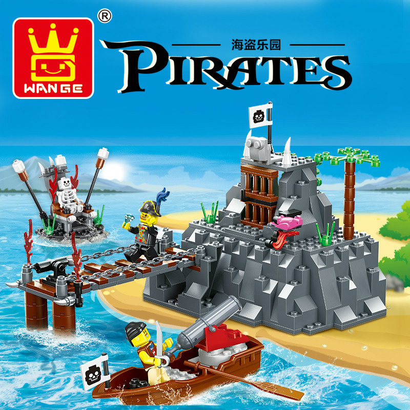 Large Pirates 248pcs TABOO ISLAND Pirate Ship Building Blocks Set Educational Toys Kids Gift Bricks Compatible with Lego Wange susengo pirate model toy pirate ship 857pcs building block large vessels figures kids children gift compatible with lepin