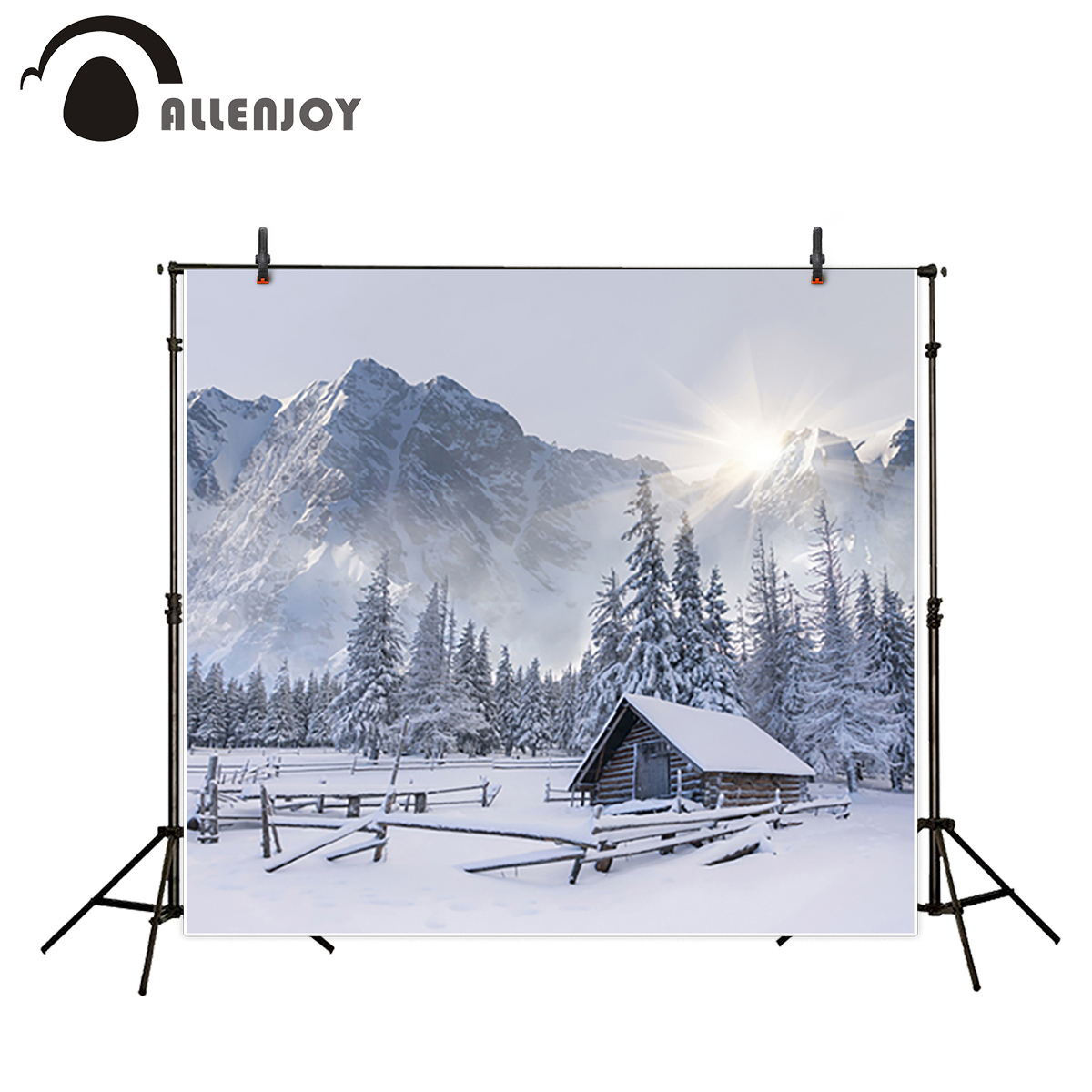 Allenjoy photography background winter small town snow tree mountain natual backdrops photo studio professional photocall ashanks small photography studio kit