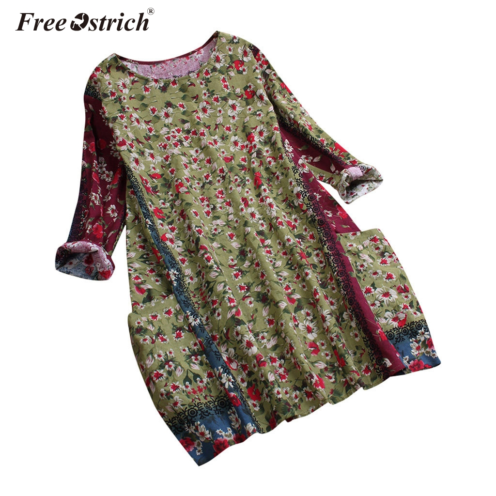 Free Ostrich women printed vintage   blouse     shirts   female long sleeve Spring pockets O neck   blouses   tops Ladies   shirt   N30