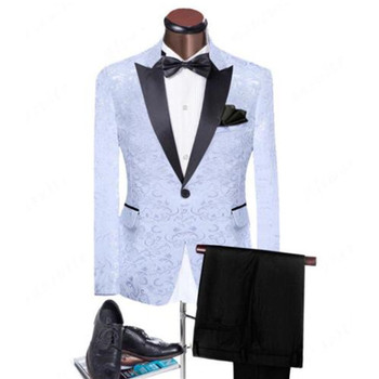 White Floral Wedding Suits For Mens Groom Tuxedo Best Men Silm Fit Formal Suits (jacket + pants )  Custom Made