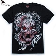 TASTIEN New Brand Luminous Men 3D T-Shirt Men Summer Wolf Skull Print Cotton Fluorescent Personalized Noctilucent Tees Big Size