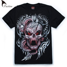 TASTIEN New Brand Luminous Men 3D T-Shirt Men Summer Wolf Skull Print Cotton Fluorescent Personalized Noctilucent Tees Big Size