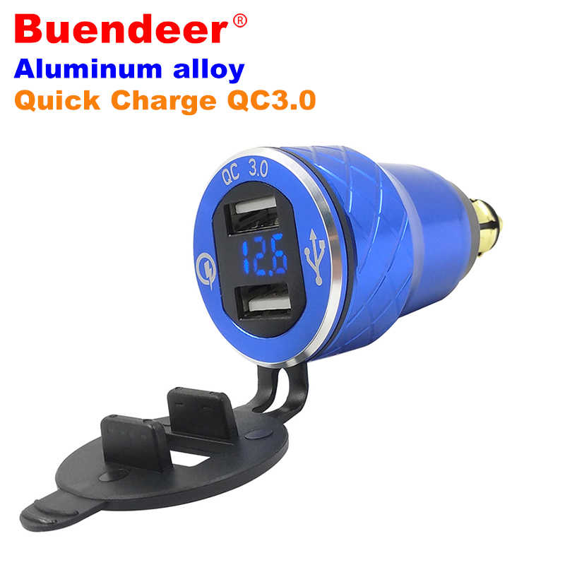Buendeer 5V 3.6A Quick Charge 3.0 Dual USB Motorcycle Cigarette Lighter Socket For Ducati Multistrada Hella DIN Plug USB Adapter