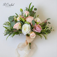 PEORCHID Romantic Garden Wedding Bridal Bouquet Roses Colorful White Pink Purple Green Bouquet Artificial Flowers Gelin Buketi