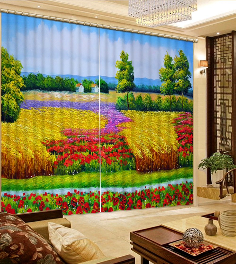 Luxury European Modern Home Decor Decoration Color Scenery Curtains For Living Room Curtain Size Window