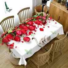 Вечерние дома кухня скатерть Розы Цветочный Рисунок 3D принт утолщаются прямоугольные Круглый Скатерти