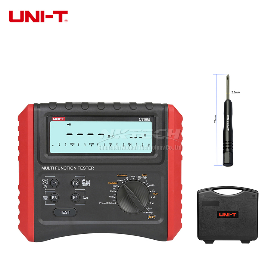 UNI-T UT595 Multifuncionais Testadores RCD Circuito Linha Impedância de Loop de Terra Tester Medidor de Resistência de Isolamento de Segurança Elétrica
