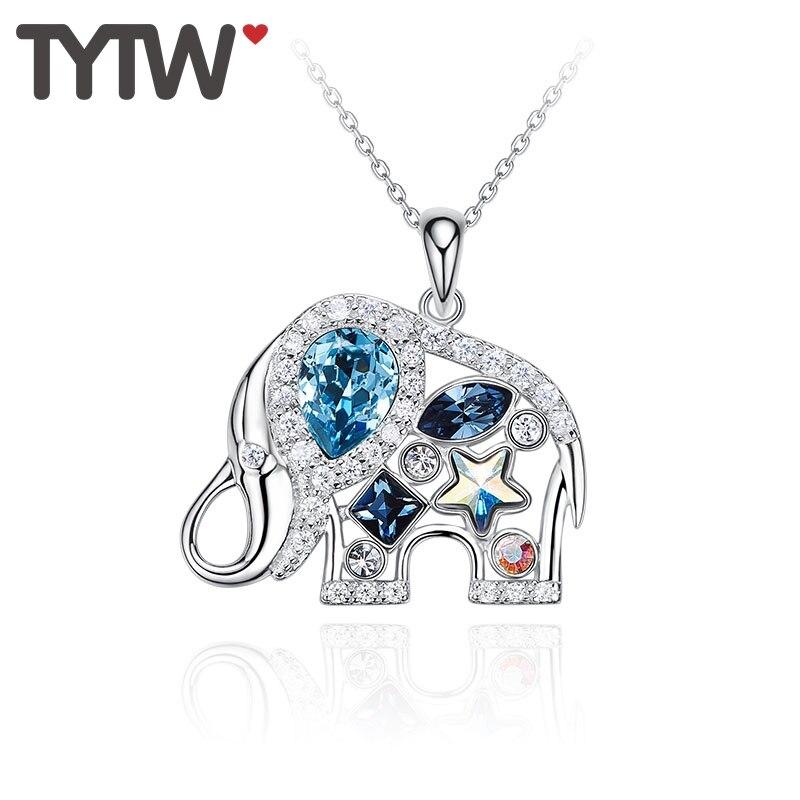 TYTW S925 argent femmes pendentif collier personnaliser éléphant coeur rond autrichien cristaux croix chaîne pendentifs choker Chic cadeau