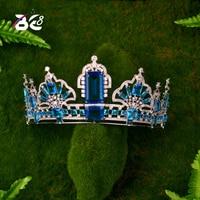 Be 8 Blue Cubic Zircon Tiara CZ Queen Crown Bridal Headpiece Wedding Hair Accessories Diadem Bijoux Cheveux Coroa Novia H144