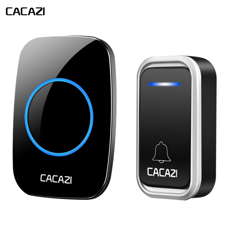 CACAZI Black Wireless Doorbell AC100-240V Waterproof 300M Long Range Door Bell High Quality LED 38 Chimes 1 Push Button 1 Ring high quality ip44 waterproof wireless doorbell 300m range with 36 chimes tone 4 level volume with 1 push button and 2 receiver