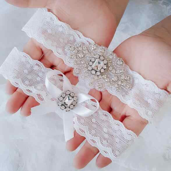 Bridal Wedding Garter Belt Set with Rose Crystal Applique white Lace Strong Stretch Plus Size for Bride Keepsake Gifts