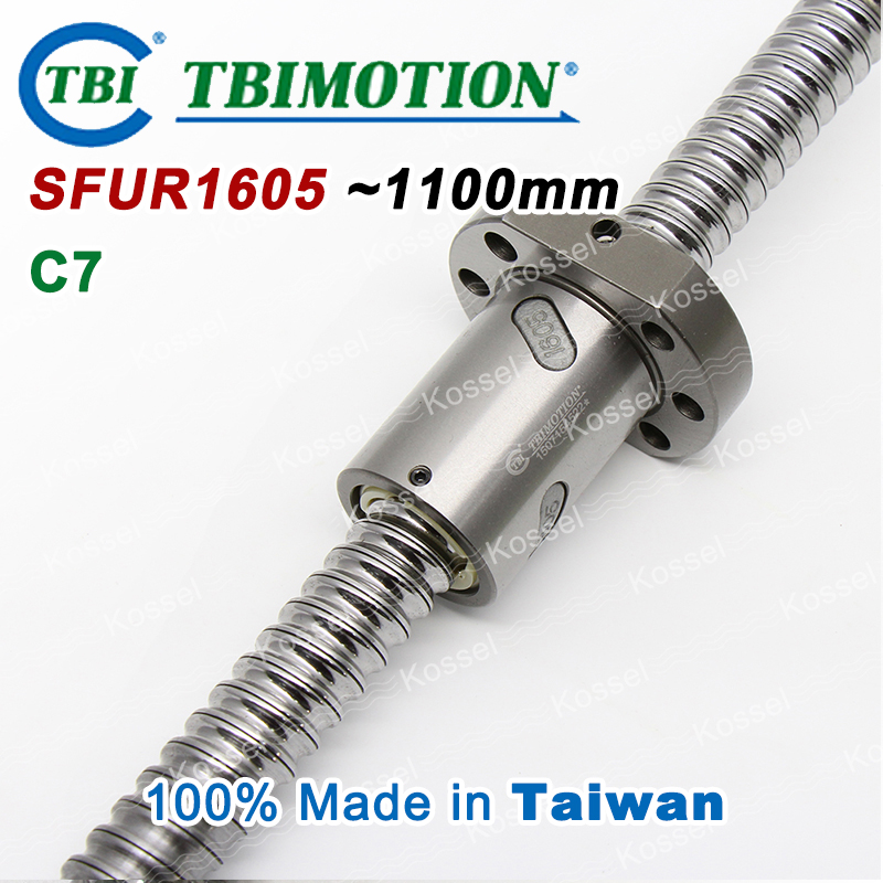 TBI ballscrew SFU1605 C7 1100mm ball screw 5mm lead with SFU 1605 ball nut with end machined for high stability CNC diy kit SFU tbi dfi 2505 600mm ball screw milled ballscrew and end machined for high stability linear cnc diy kit
