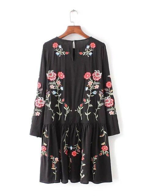 2017 Za Женщины Dress Vintage Длинным Рукавом Цветок Цветочные Вышивка Черный Случайные Свободные Круглым Воротом Рюшами Платья M0514