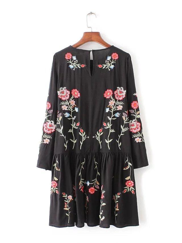2017 Za font b Women b font font b Dress b font Vintage Long Sleeve Flower