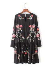 2017 Za Women Dress Vintage Long Sleeve Flower Floral Embroidery Black Casual Loose Round Collar Ruffle Dresses M0514