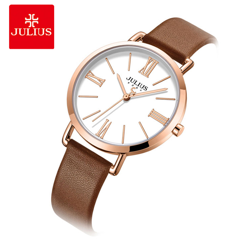 Julius Vintage Women Watch Simple Waterproof Ladies Leather Strap Quartz Wristwatch Roman Numeral Couple Watch Clock Reloj Mujer silicone strap roman numeral quartz watch