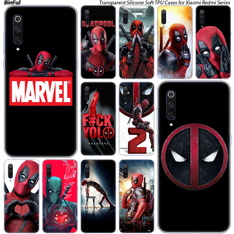 Hot <font><b>Marvel</b></font> Hero Deadpool Silicone <font><b>Case</b></font> For <font><b>Xiaomi</b></font> Pocophone F1 9T 9 9SE 8 A2 Lite A1 A2 Mix3 <font><b>Redmi</b></font> K20 7A <font><b>Note</b></font> <font><b>4</b></font> 4X 5 6 7 Pro S2 image