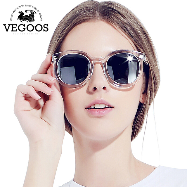 8c482140de VEGOOS Real Polarized Vintage Women Sunglasses Flash Mirrored Lens Designer  Brand Orignal Retro Round Sunglass Sun