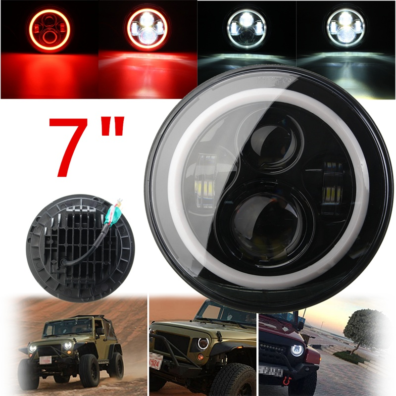 7 Inch 45/60W Hi-Lo Beam LED Headlight Head Light Lamps H4 - H13 Red Blue Full Halo Angel Eyes For Jeep/Wrangler JK TJ LJ 97-15