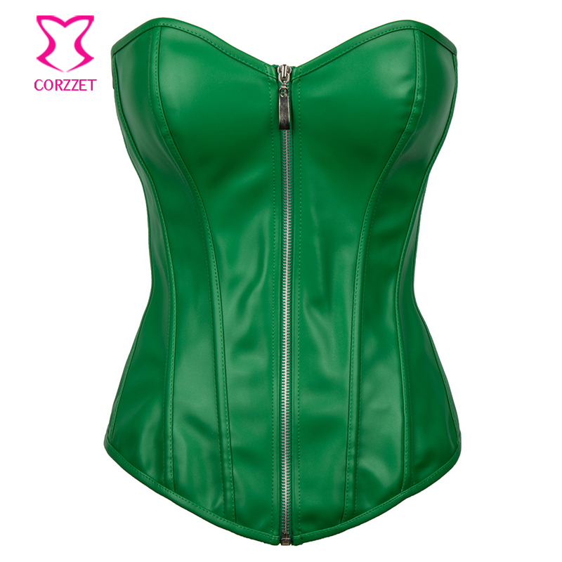 e6281d883 Sexy Green Leather Espartilhos Corset Corselet Steampunk Corsets And Bustiers  Plus Size 6XL Gothic Clothing Korsett
