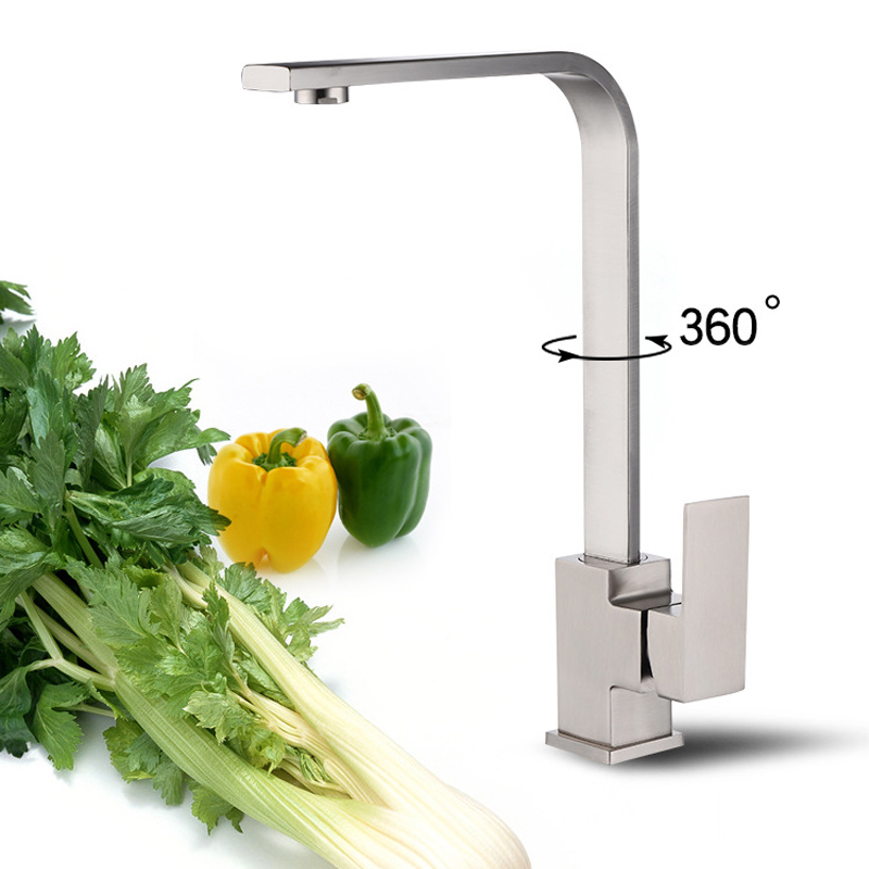 360 Degree Rotatable Water Faucet Bathroom Basin Faucet Deck Mounted Sink Tap Kitchen Square Hot And Cold Water Mixer Tap