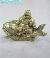 Книги по искусству коллекция Старый китайский ручной Серебряная большая рыба Будда скульптура/металла статуэтки Craft для украшения дома ста