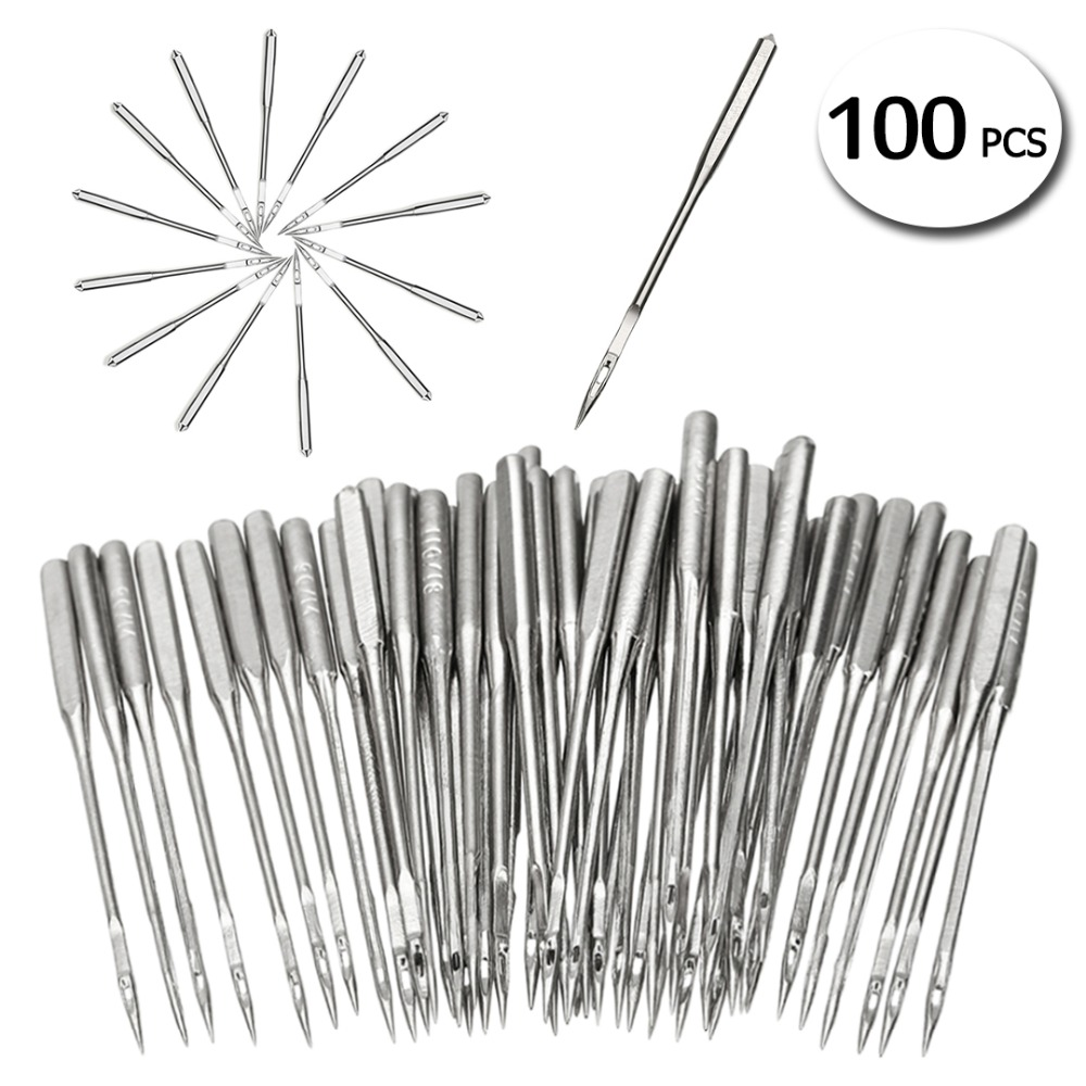 50 Pieces/Set Silver Sewing Machine Needles Assorted Home Sewing Machine Needles 11/75 12/80 14/90 16/100 18/110