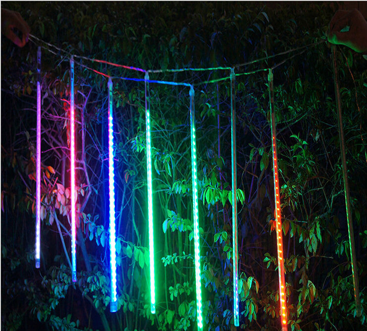 110v 220v 50cm led meteor shower rain tube lights outdoor ip65 lamp tree decoration christmas lights hollow out style x 50set in holiday lighting from - Snowfall Christmas Lights