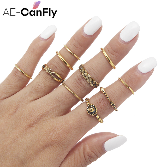 US $1 99 20% OFF|AE CANFLY Fashion Punk Ring Set Antique Gold or Silver  Boho Hippie Knuckle Rings US Size 6 1D1004-in Rings from Jewelry &  Accessories