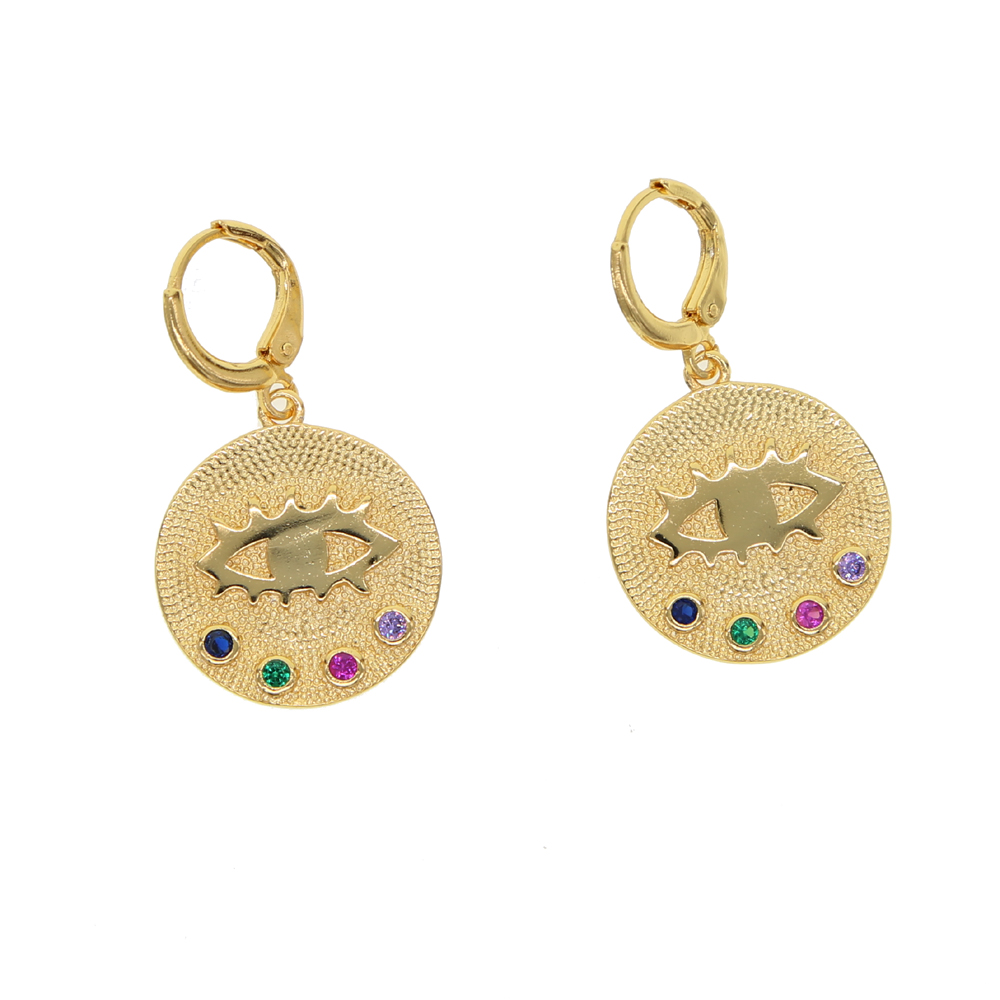 Geometric coin gold color earring for women rainbow cz engraved evil eye lucky symbol dangling earringsGeometric coin gold color earring for women rainbow cz engraved evil eye lucky symbol dangling earrings