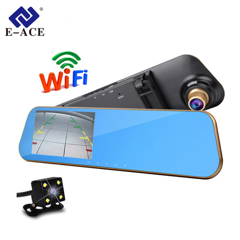 E-ACE Wifi espejo retrovisor del coche DVR grabador de vídeo Full HD Monitor de la Cámara de Auto Sensor de aparcamiento visión nocturna Registratory Dashcam